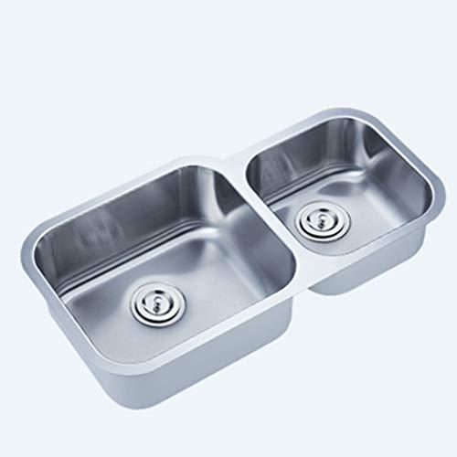 Évier en acier inoxydable brossé conçu à la main pour cuisine à double fente et évier encastré insonorisé Meubles-lavabos