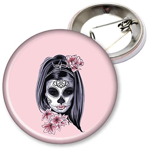 My Custom Style Stecknadeln und Magnete Sortiert #Halloween_A# Spilletta Tonda da 75mm Halloween-Donna Scheletro