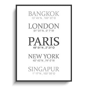 Plakat Wohnen Flur DIN A4 Berühmte Städte 2 Wanddeko ohne Rahmen Gastgeschenk Einzug Umzug Richtfest Design Wohnung Zimmer Modern