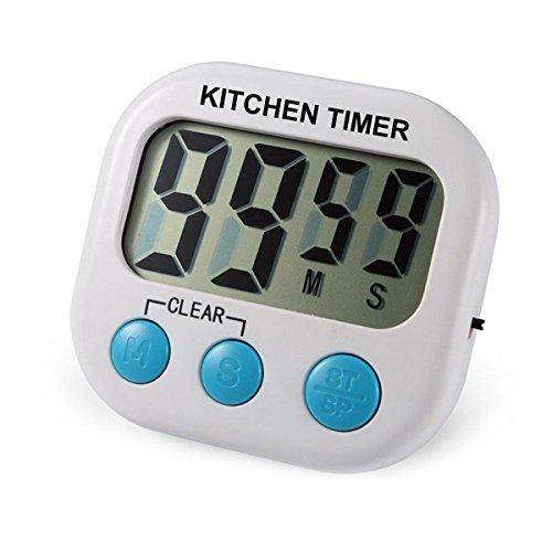 Digitaler Küchen-Zeitmesser mit lautem Alarm, magnetischer Rückseite und einklappbarem Standfuß, große Digitalanzeige, Aufhänger, An-/Ausschalter für Küche, Kochen, Backen, Sport, Spiele Büro usw. 1 weiß