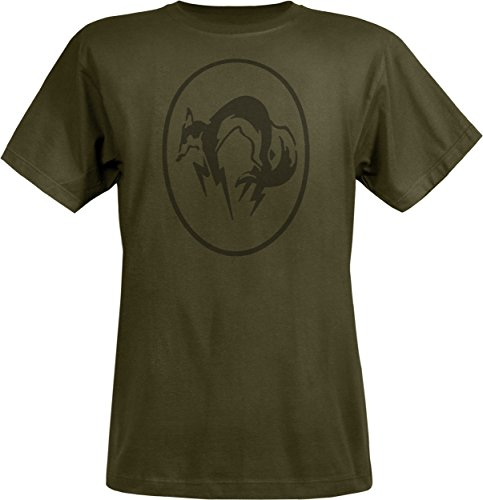 Musterbrand Metal Gear Solid T-Shirt Men Green Fox 100% Pima Cotton Black