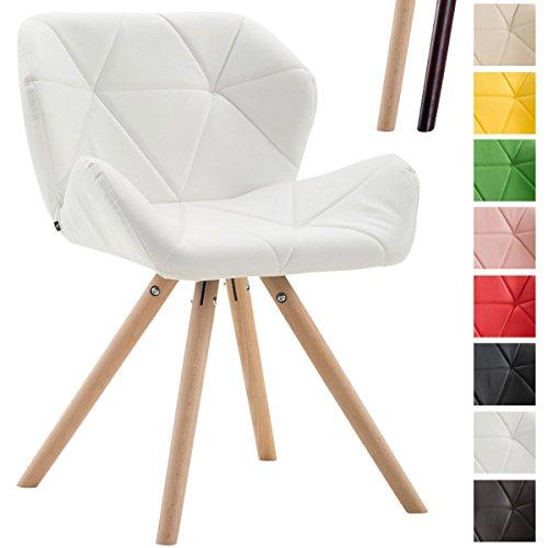 Clp sedia dal design rétro tyler, similpelle, imbottita, gambe tonde, telaio in legno di faggio, sedia visitatore, con schienale, capacità di carico max 125 kg bianco colore base: natura