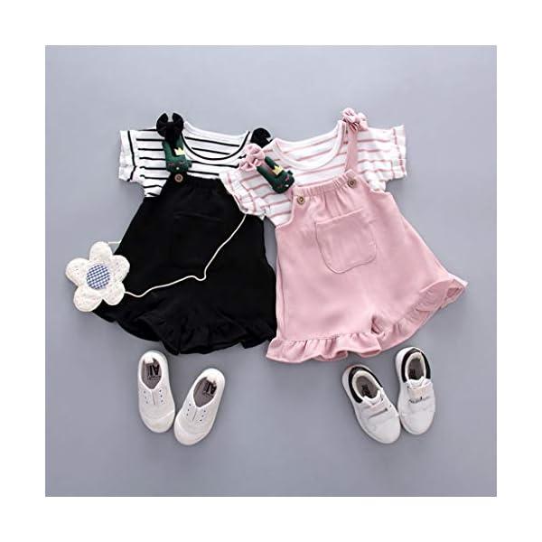 Trisee Conjunto de Ropa de bebé niña Pantalones Babero Originales sin Mangas con Volantes y Tops de Rayas Newborn 2… 2