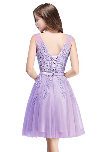 MisShow Damen Tüll V-Ausschnitt Abendkleid Apliqque Brautjungfernkleid Hochzeitskleider für Gäste...