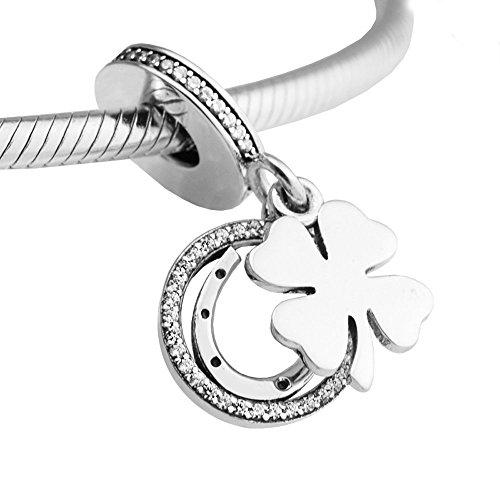 chicbuy 2017primavera buena suerte día claro CZ Dangle Charm cuentas plata de ley 925DIY encaja para Original Pandora pulseras Fashion joyas
