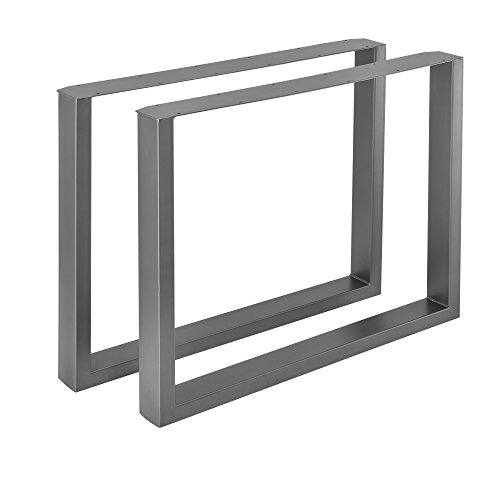 [en.casa]®] 2 x Conjunto de Patas de Mesa - Set de 2X Patas de Mesa - Metal - Patas de los Muebles - 90 x 72 cm - para Mesa de Comedor - Armazón de Mesa - con protección para Suelo - Gris metálico