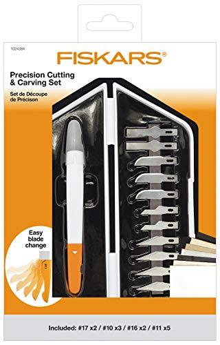 Blanco//Naranja Acero de calidad//Pl/ástico Fiskars Kit Premium de precisi/ón 12 Cuchillas Longitud total: C/úter: 21 cm 1024384 Incl C/úter de precisi/ón y Set de 13 Cuchillas