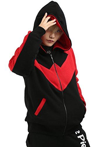 Spring Autumn Kapuzen pullover Hoodie Cosplay Kostüm Jacke Schwarz Kleidung Sweatshirt Pulli Baumwolle Mantel für (Kostüm Für Kind Nightwing)