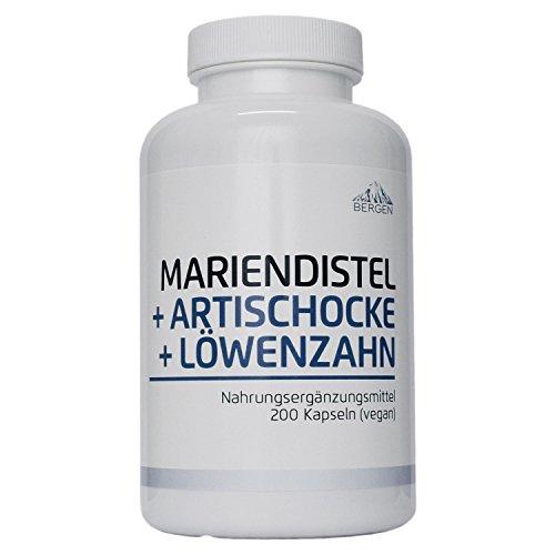 Bergen Mariendistel Artischocke Löwenzahn - Komplex Hochdosiert mit 80% Silymarin. 200 Vegane Kapseln ohne Zusatzstoffe