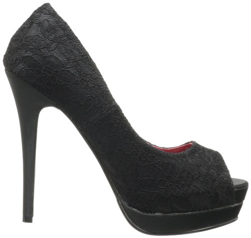 Pinup-Couture Open Toe High-Heel Pumps Bella-16 - Schwarz Blk Satin-Blk Lace Overlay