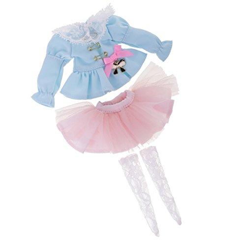 Sharplace 2 Stück Miniatur Puppenkleidung Anzug - langärmelig Puffärmel Jacke + Rock + Strümpfe - Outfit für Blythe Puppe Zubehö -