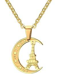 56c0d10ceafe joielavie joyas collar con colgante media luna de la torre Eiffel acero  inoxidable de alta pulido