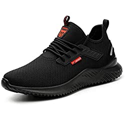 YISIQ Chaussures de Sécurité Homme Femmes Chaussures de Travail Embout Acier Protection Ultra légère et Indestructible Respirant Basket Securite Unisexes, 01 Noir, 43 EU