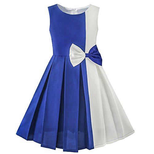 Girls Dress Color Block Contrast Bow Tie Everday Party Age 4-14 Years
