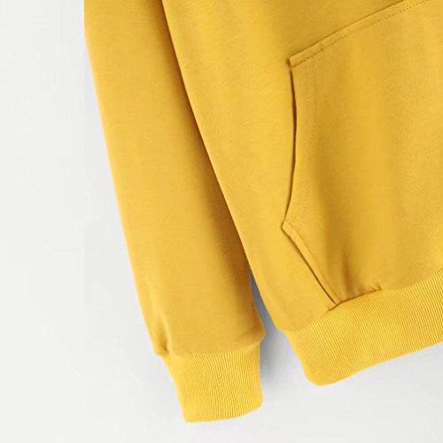 Autumnwind Sweat à Capuche Femmes Manche Longue Chat Sweat-shirt Tops Jaune