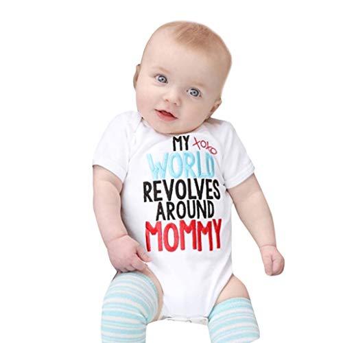 Bauycy (0-18M) Baby kurzärmeliger Buchstabe Farbdruck Kittel Einteilige Kleidung Meine XOXO Welt, helle Farbe vielseitig, Sommer