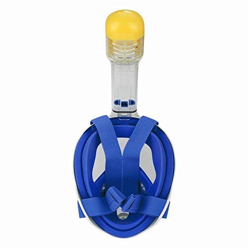 PerGrate Masque de Plongée Pleine Vue 180 degré Plein Visage Snorkeling Masque de Plongée Masques pour Adultes et Enfants Sécurité Plongée (Bleu, S(Inner17*13, Diamètre extérieur 23 * 19 cm))
