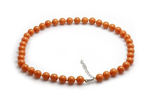 Schmuckwilli Damen Muschelkernperlen Perlenkette aus echter Muschel orange 45cm 10mm mk10mm054-45