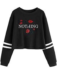 Amlaiworld Niedlich Locker Blumen Druck Kurz Sweatshirt Damen Bauchfrei  Bunt Rose Mode Pullover mit Kapuzen Warm Weich Herbst Winter… 96b9c1b49e