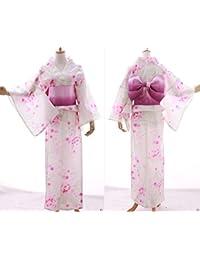 Kawaii-Story K-021A weiß rosa Blumen ORIGINAL traditionell Japan Damen Kimono YUKATA OBI Gürtel Baumwolle