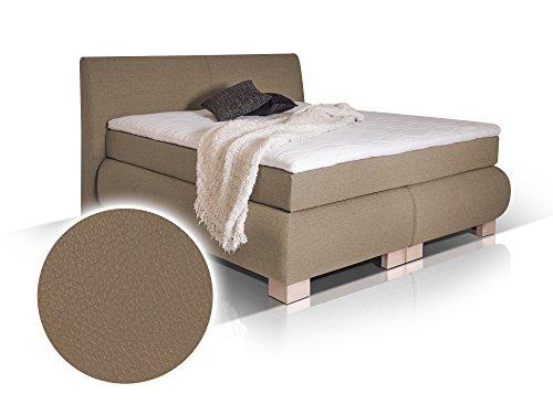 moebel-eins Luxus Boxspringbett- Kunstleder - inklusive Kopfteil, 200x200 cm, Muddy, Härtegrad 2