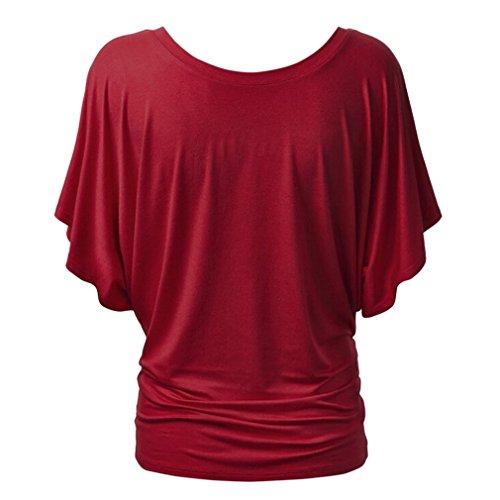 La Vogue T-Shirt Femme Lâche Top Haut Uni Confort Manche Chauve Souris Rouge