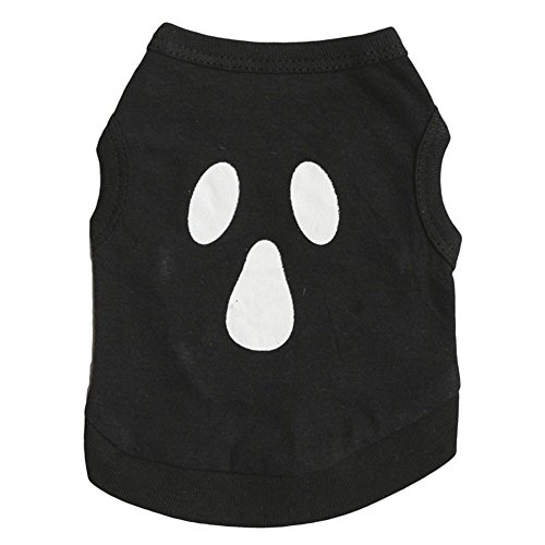 GINBL Pet Halloween Kostüme für Kleine Hunde Print Shirt Kostüm Schwarz Ghost Kostüm, L, Blackmask