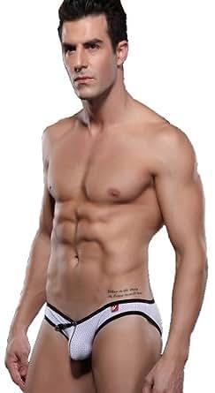 Demarkt Sexy Slip Hommes/Pantalon Court/ Sous-vetement en Voile et Demontage/ Couleur Blanc/ Taille S/M/L (S)