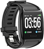 LCARE Watch Smart Activity Tracker with Blood Pressure, Heart Rate Monitor, Alert for Android and iPhone, (Bla