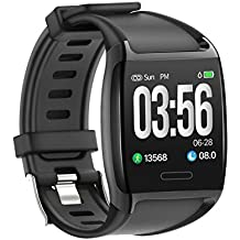 LCARE Watch Smart Activity Tracker with Blood Pressure, Heart Rate Monitor, Alert for Android and iPhone, (Black)