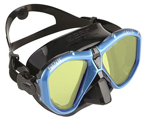 Seac Unisex- Erwachsene Italia Tauchmaske für professionelles und Freizeittauchen und Schnorcheln, schwarz/hellblau LS, Asian Fit