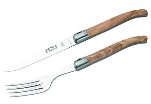 Laguiole Tradition Steakmesser mit Gabel, in Holzbox Tafelmesser