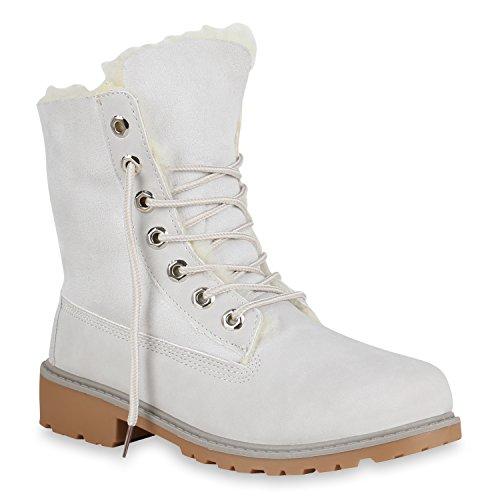 Stiefelparadies Warm Gefütterte Damen Stiefeletten Worker Boots Kunstfell Schuhe Flandell Hellgrau