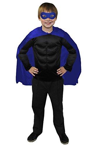 ILOVEFANCYDRESS SUPERHELDEN Hero Kinder Jungen MÄDCHEN KOSTÜM VERKLEIDUNG =Blauer UMHANG+Blaue Maske +MUSKELSHIRT IN 6 Farben+ 2 GRÖSSEN=Fasching Karneval=SCHWARZES Muskel - Daredevil Kostüm Für Kind