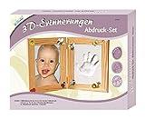 MAMMUT 129002 - 3D Erinnerungen Bilderrahmen-Set klein, Komplettset mit Holzrahmen (MDF), 1 Holzroller, 1 Päckchen Modelliermasse und 16 Holzsticker, Kreativset für junge Eltern