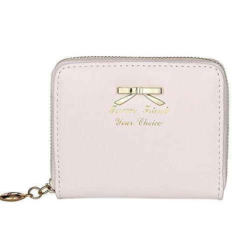 Einfache Bogen Klein Geldbörse Damen Elegant Leder Portemonnaie Mädchen