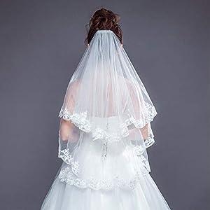 FengJingYuan-ZHUBAO Zwei-Leller Lace Applique Edge Hochzeits-Hochzeitsschleier mit Haarkamm Elbow Veils