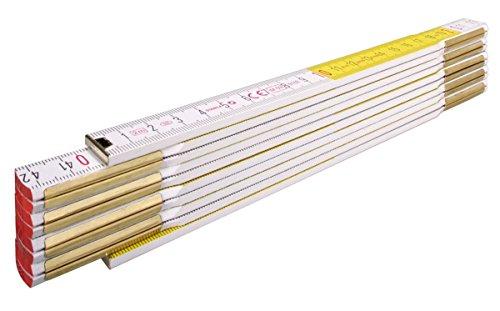 STABILA Holz-Gliedermaßstab Type 617, 2 m, weiß/gelbe metrische Schnellableser-Skala