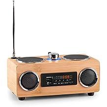 oneConcept Bamboost 3G radio con acabado de bambú (USB, microSD, MP3, AUX, radio FM, 30 emisoras, altavoz de banda ancha, batería Nokia extraíble, pantalla LED, antena telescópica)