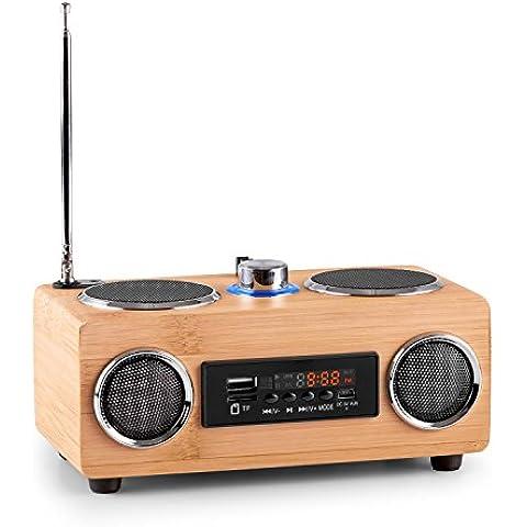 oneConcept Bamboost 3G Radio Portatile con rivestimento in bambù (altoparlanti