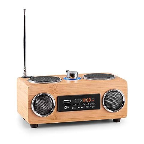 oneConcept Bamboost 3G Bambus-Lautsprecher • Radio • Mini-Boombox • UKW-Radiotuner