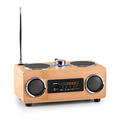 OneConcept BamBoost 3G Mini Poste de Radio Portable (avec Tuner FM, Ports USB, SD compatibles MP3 / WAV, Prise AUX, égaliseur, Design Bois, télécommande Incluse)