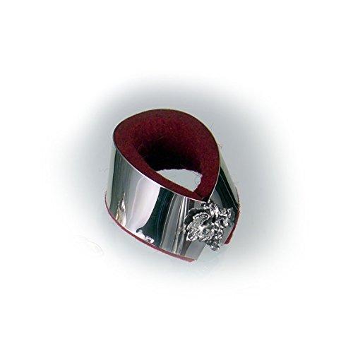 Raddi Argenterie Tropfenfänger aus ziseliertem Silber, mit Samt gefüttert, Traubenmotiv, Durchmesser: 6cm