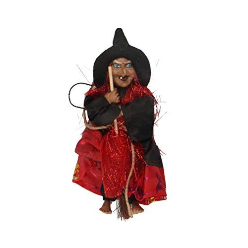 BESTOYARD Halloween Dekoration hängenden Hexe Horror hängen Fliegende Hexe Figur Ornamente Anhänger für Terrasse Rasen Garten Urlaub Party (rot)