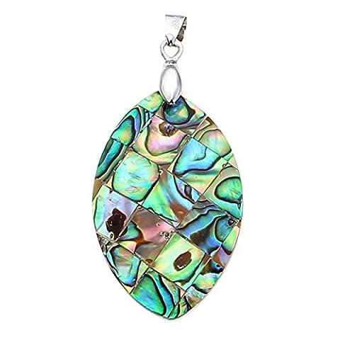 JOVIVI Fashion Paua Abalone Shell Marquise Horse Eye Pendant Bead Necklace