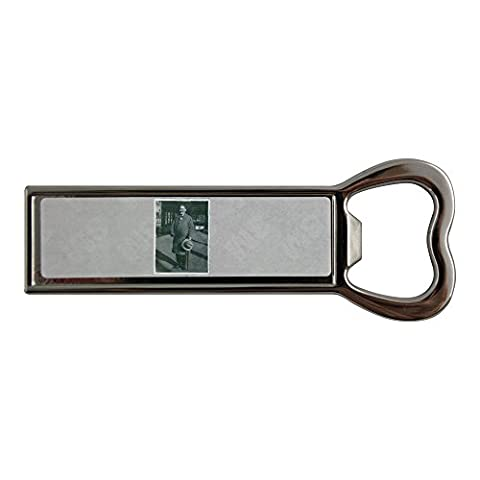 Stainless steel bottle opener and fridge magnet with Howard Carter holding his hat and cane.