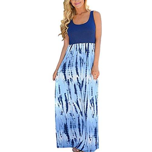 MCYs Sommer Frauen Patchwork Blumen Scoop Neck Wave gestreiften Tank Ärmellos MaxiKleid Strandkleid Sommerkleider Abendkleider Partykleid (M, Blau) - A-line Scoop Natürliche