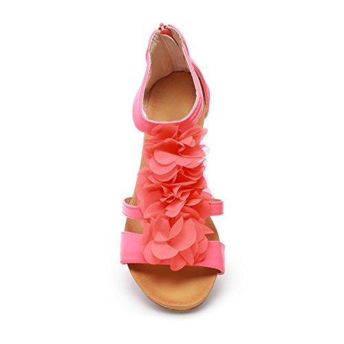 La Modeuse Sandales Femme en Simili Cuir Rouge