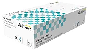 Unigloves UCNP1202 Small Nitrile Powdered Gloves (Box of 100)