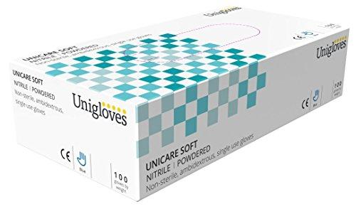 Unigloves UCNP1204 Einmalhandschuhe aus Nitrilkautschuk, gepudert, GrößeL, 100 Stück